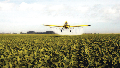Aerial application, fungicide spray