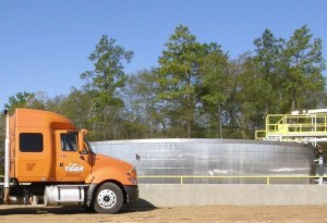 New 1,500-ton molten sulphur storage tank at H.J. Baker's Tiger-Sul Products Atmore, AL facility.