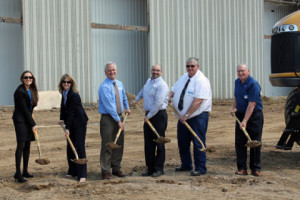 Eric Fisher, AGCO Jackson, third from right, was joined by local officials for a groundbreaking ceremony May 7, 2013, to mark the start of AGCO's $42 million expansion. From left, Jennifer Bromeland, Janice Fransen, Clayton Lewis, Fisher, Jackson Mayor Wayne Walter and William Tusa. (Photo: Business Wire)