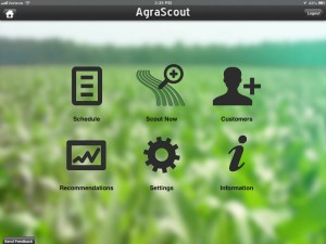 AgraScout main menu.