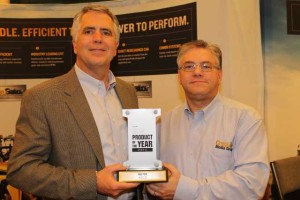 AGCO's Mark Sharitz, left, accepts the 2013 Product of the Year trophy from CropLife® Editor Eric Sfiligoj.