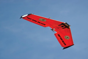 AgEagle UAVs combine a flying wing airframe made out of hardened fiberglass/carbon fiber with Kevlar-edged wings.