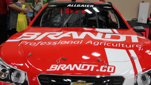 The BRANDT-sponsored NASCAR #51 car on display at 2014 Commodity Classic.