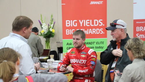 BRANDT-sponsored NASCAR driver Justin Allgaier at the 2014 Commodity Classic.