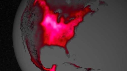 Fluorescence on U.S. Map Shows Corn Belt Productivity