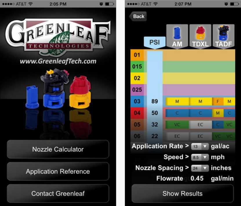Screen captures of Greenleaf Technologies's mobile application app for agriculture on iPhone showing the home screen and an example result from their Nozzle Calculator called 'NozzleCalc