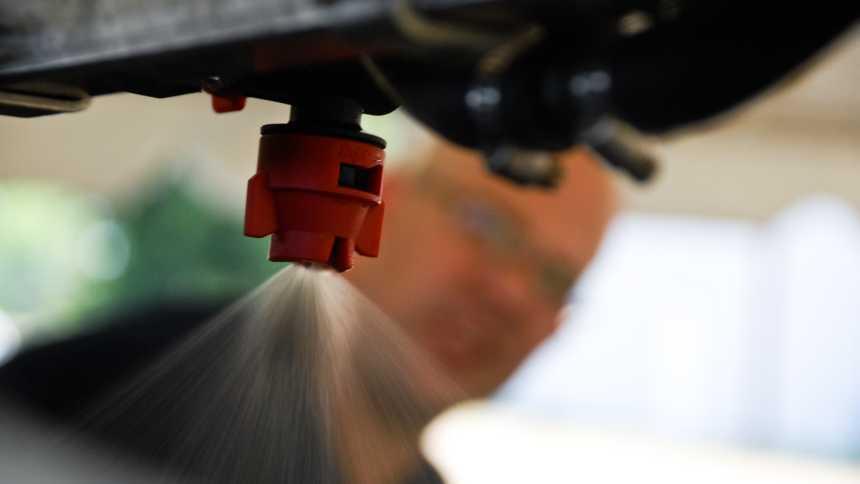 Nozzle spray close-up