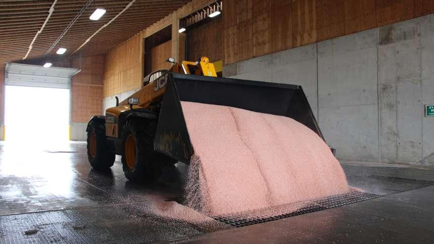 Dry Fertilizer being dumped