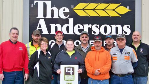 The Andersons Farm Center in Gibsonburg, OH, is now 4R Nutrient Stewardship Certified. Employees pictured (from L to R) include: Back Row Bill Kuhlman, Keith Hicks, Brock Avers, Jim Gosche, Adam Thacker, and Dean Anstead; Front Row: Annette Clark, Kristin Welling, Jeff Weickert, and Bill Martin.
