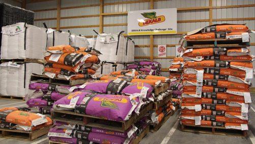 Dekalb Seed pallets in storage