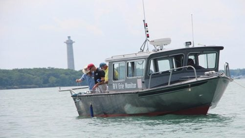 The sampling team begins the data gathering process out on the waters of Lake Erie near Put-in-Bay, OH, on July 7, 2016.
