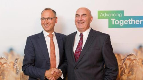 Werner Baumann, Bayer AG, and Hugh Grant, Monsanto