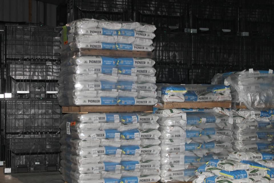 Bags Pioneer soybean seeds Asmus Farm Supply