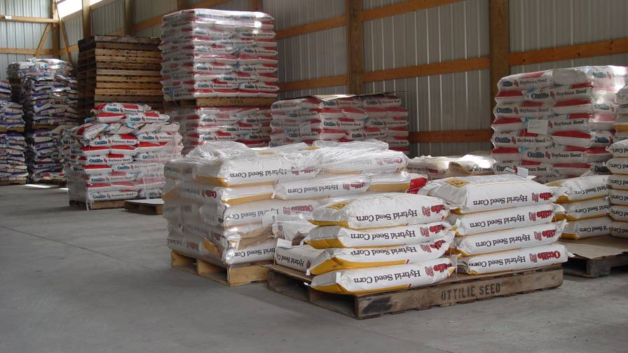 Seed bags in storage